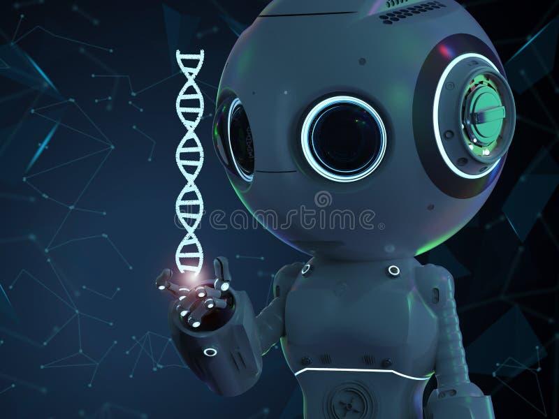 有脱氧核糖核酸螺旋的机器人 向量例证
