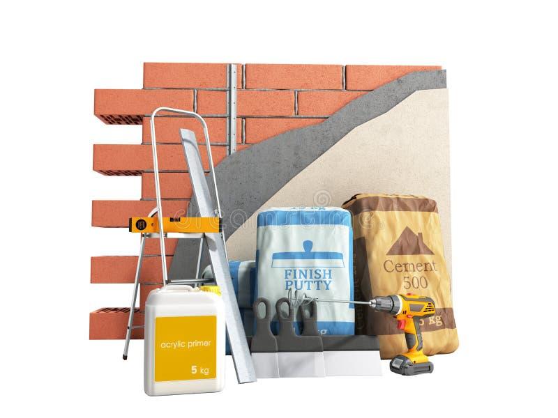 有膏药油灰和水泥的家庭整修改组进程修理壁画新房建筑概念砖墙 库存例证