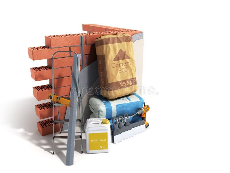 有膏药油灰和水泥的家庭整修改组进程修理壁画新房建筑概念砖墙 向量例证