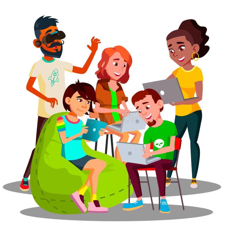 有膝上型计算机和智能手机的坐的学生在Wi-Fi区域传染媒介 按钮查出的现有量例证推进s启动妇女 库存例证