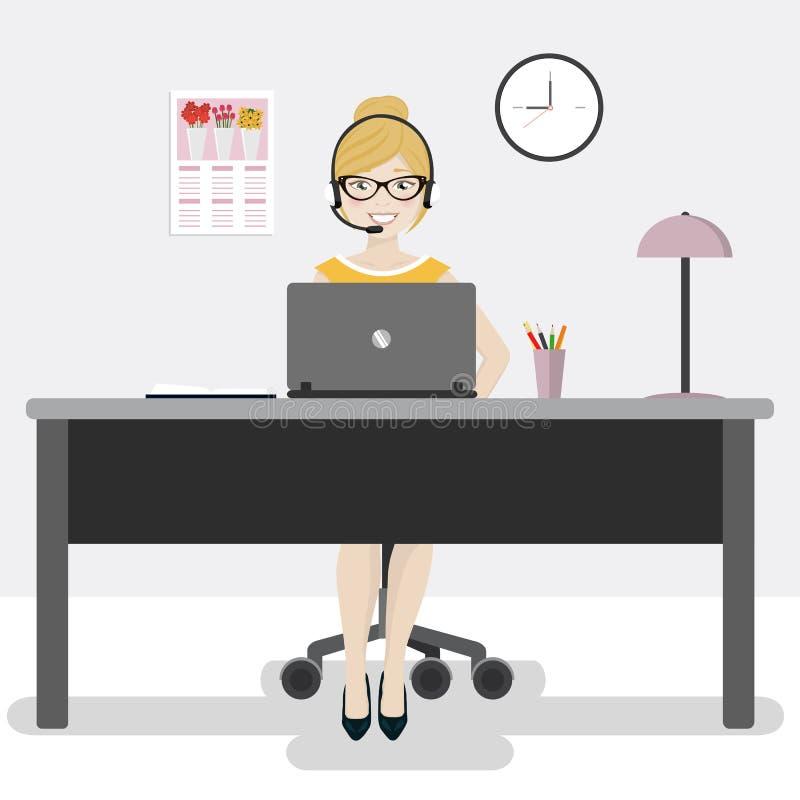 有膝上型计算机和耳机的女性办公室工作者 库存例证