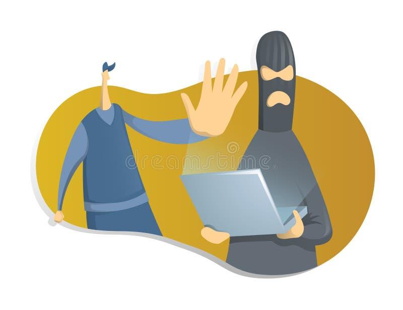 有膝上型计算机和警察的,在cybersecurity题目的概念一位黑客  例证,隔绝在白色 向量例证