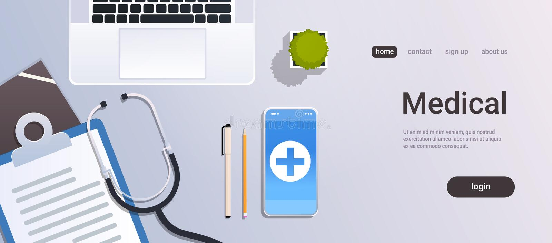 有膝上型计算机智能手机听诊器的医院工作者桌网上流动应用程序油罐顶部角钢视图医生工作场所桌面和 库存例证
