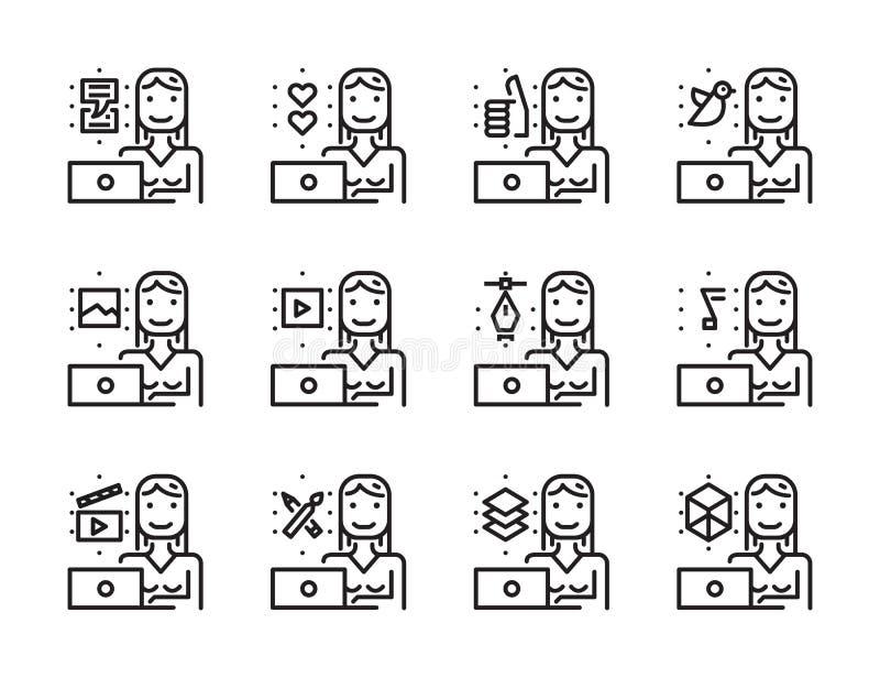有膝上型计算机概述象集合的工作者妇女 创造性的工作和soc 皇族释放例证