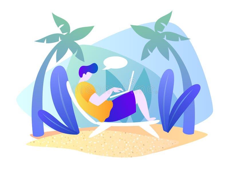 有膝上型计算机的一个人基于一个热带海岛 海滩假期 夏天动画片传染媒介例证 ?? o EPS 向量例证