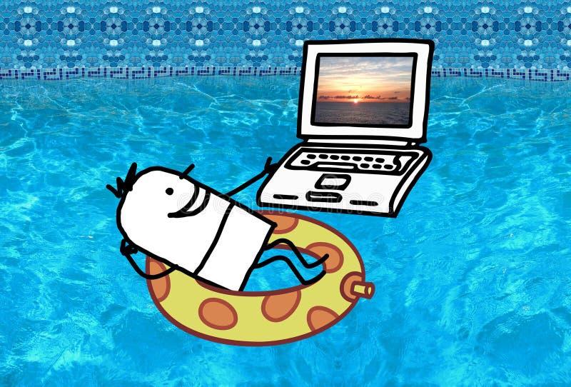 有膝上型计算机的人在游泳池 库存例证