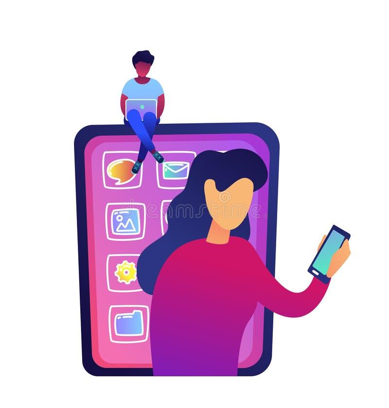 有膝上型计算机的使用智能手机的少妇坐巨大的智能手机和妇女导航例证 向量例证