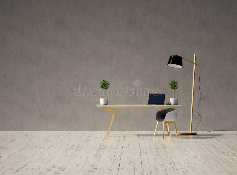 有膝上型计算机的在一个空的灰色混凝土墙和葡萄酒白色木地板和一盏灯上的书桌和椅子在日落3d 库存例证
