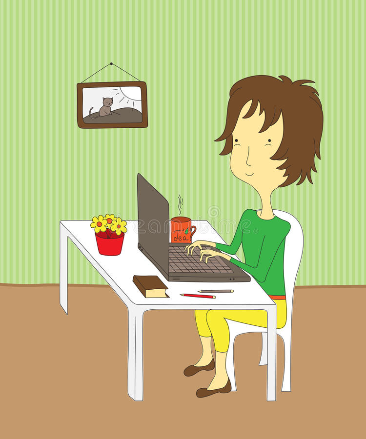 有膝上型计算机的女孩 向量例证