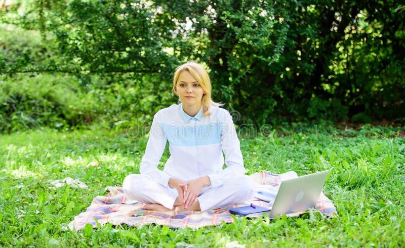 有膝上型计算机的妇女或笔记本坐地毯绿草草甸 企业野餐概念 开始的步做自由职业者 免版税库存照片