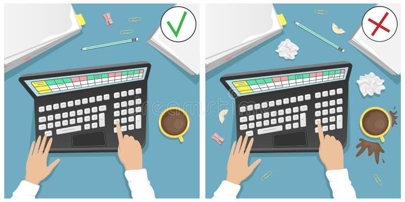 有膝上型计算机的工作书桌,堆纸和一杯咖啡 比较一个肮脏的桌面和一干净一个 库存例证