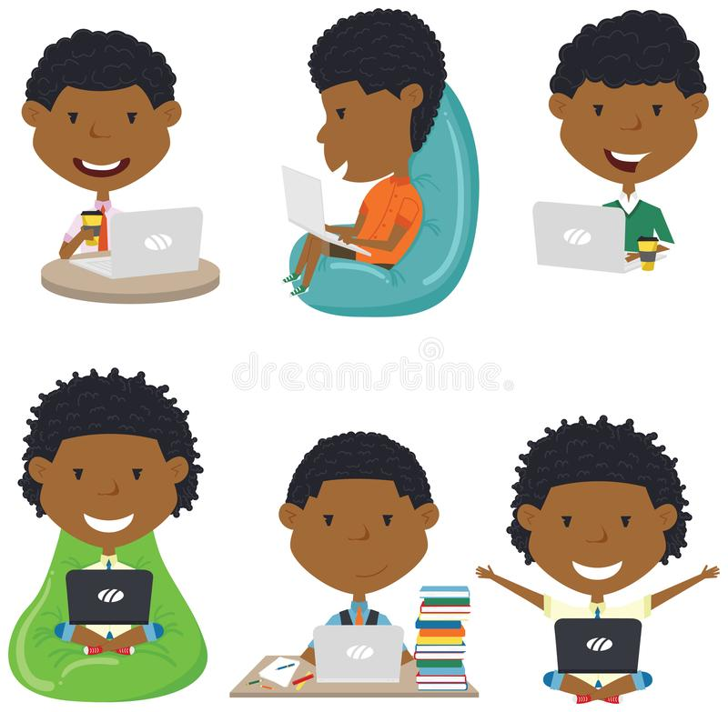 有膝上型计算机的愉快的非裔美国人的男孩 库存图片