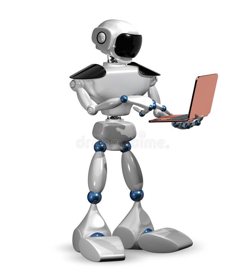 有膝上型计算机的机器人 皇族释放例证