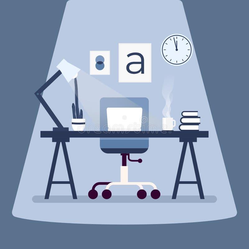 有膝上型计算机的现代设计师工作场所在桌上 工作场所概念平的设计 库存例证