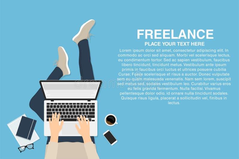 有膝上型计算机的自由职业者 向量例证
