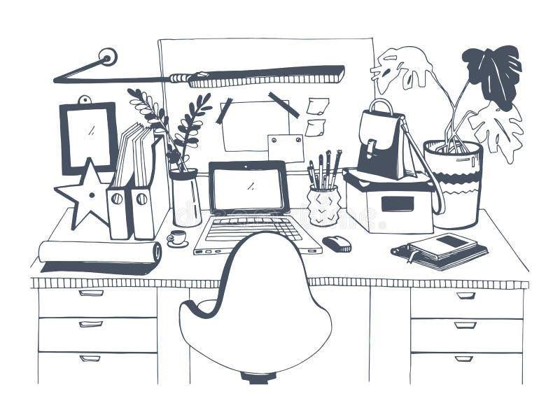 有膝上型计算机的,手拉的传染媒介例证,剪影样式创造性的现代工作场所 皇族释放例证