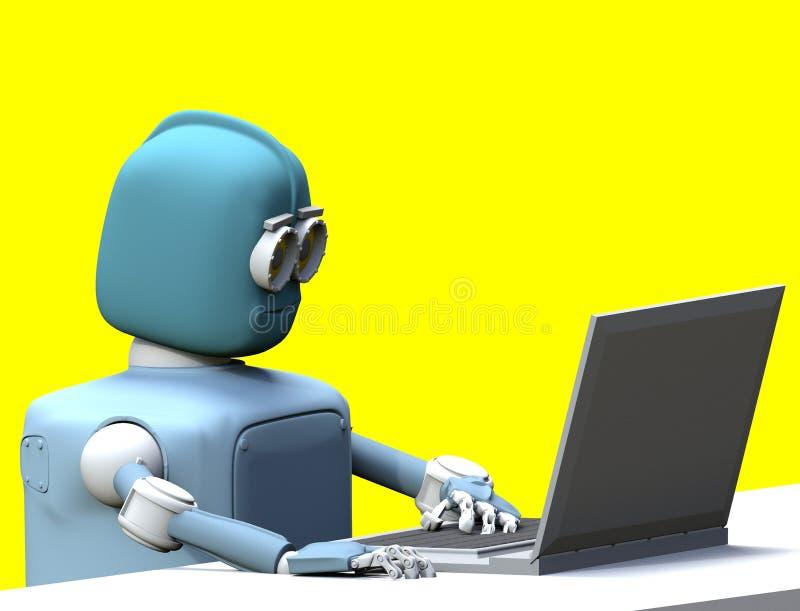 有膝上型计算机的3d机器人回报 向量例证