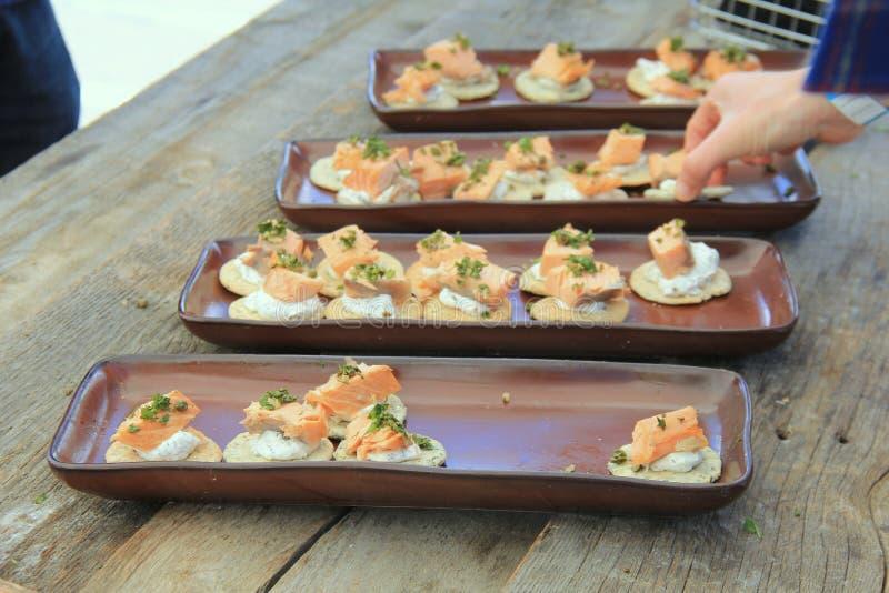 有自创薄脆饼干和新鲜的煮熟的三文鱼的几种类型的长的瓦器盘子 库存图片