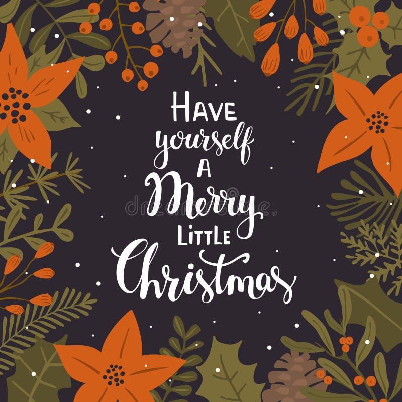 有自己快活书面的一点圣诞节手与冬天xmas叶子的背景 向量例证