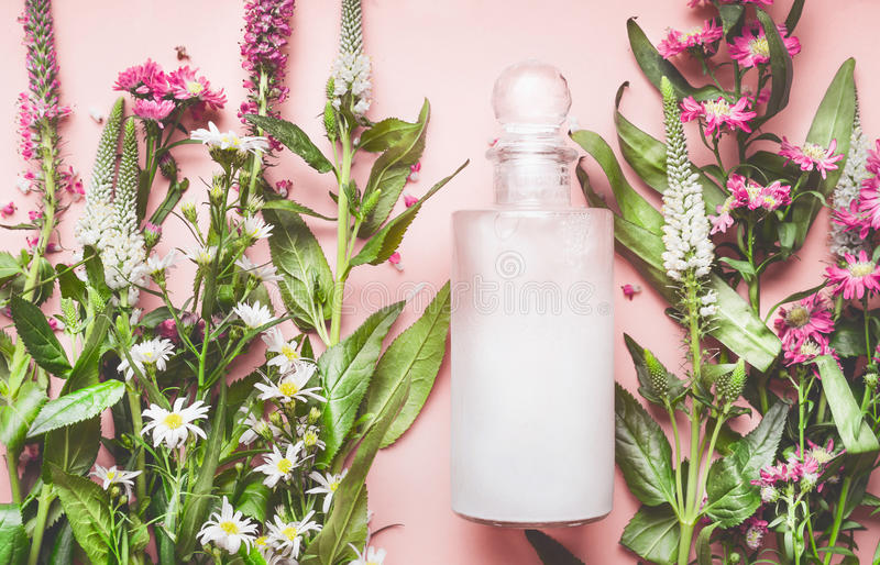 有自然化妆产品的玻璃瓶:化妆水或香波用新鲜的草本和花在桃红色背景,顶视图 秀丽, 免版税库存图片