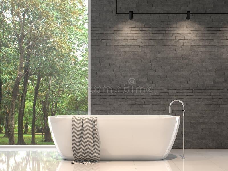 有自然石墙的3d现代当代卫生间回报 皇族释放例证