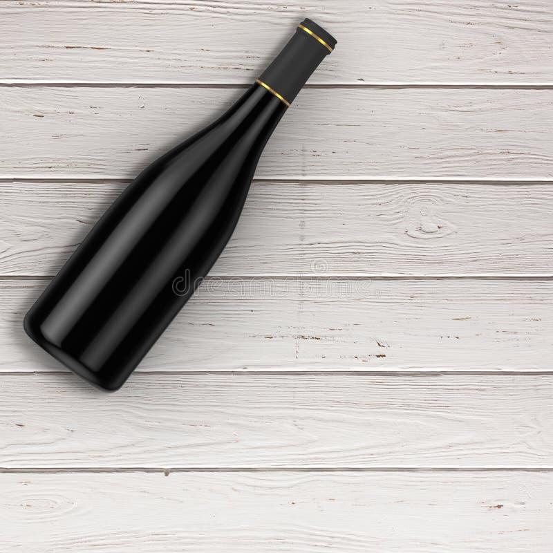 有自由空间的空白的红葡萄酒瓶你的设计在tabl 皇族释放例证