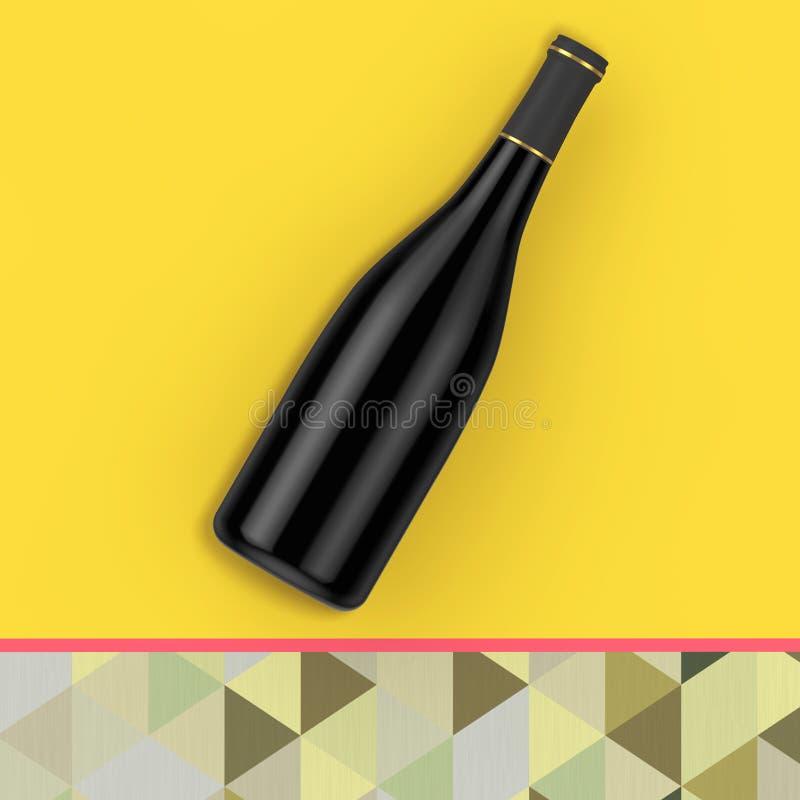 有自由空间的空白的红葡萄酒瓶你的设计 3D rende 库存例证
