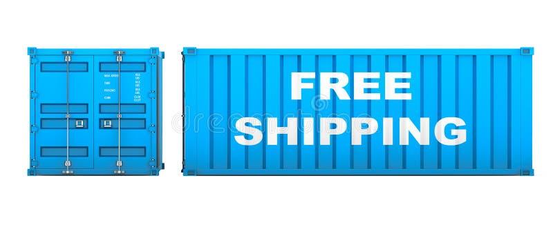 有自由运输标志的运输货柜 3d翻译 皇族释放例证