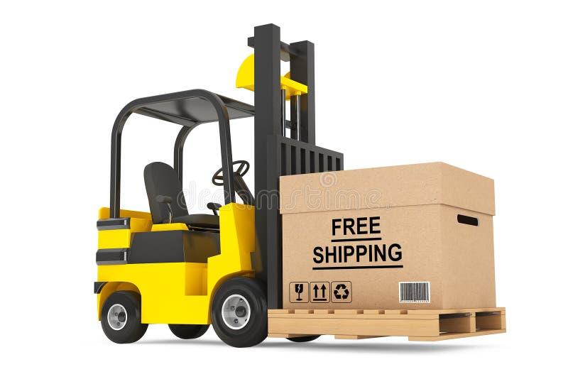 有自由运送箱和板台的叉架起货车 皇族释放例证
