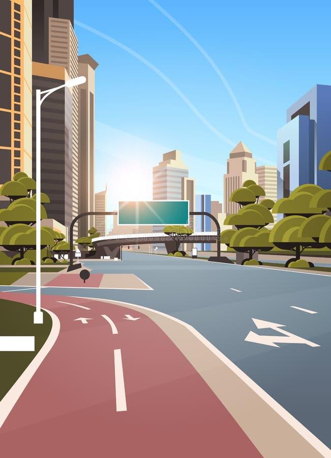 有自行车循环的车道路径信息横幅交通标志城市地平线现代摩天大楼都市风景的柏油路 库存例证