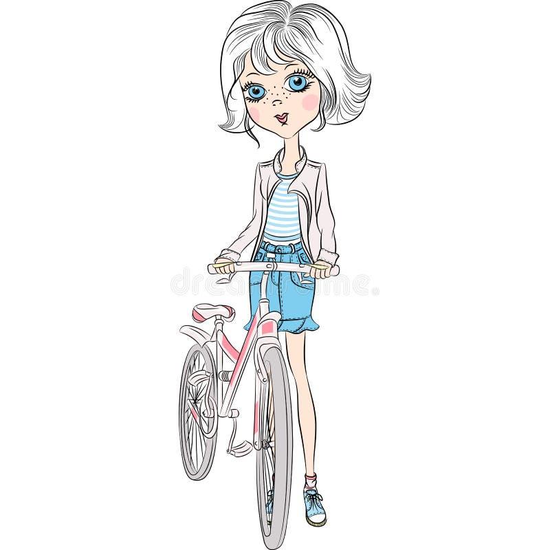 有自行车的传染媒介逗人喜爱的女孩 库存例证