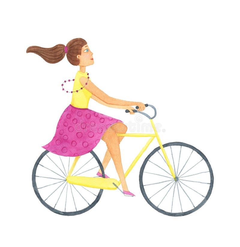 有自行车的女孩 r E 库存例证