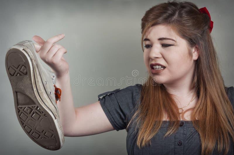 有臭味的鞋子 库存照片