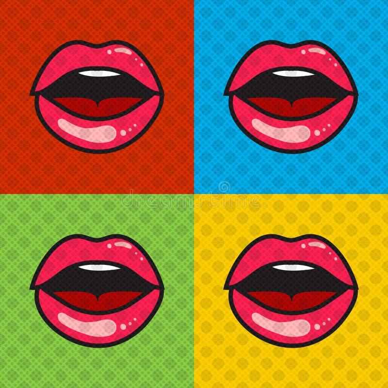 有舌头和牙的被张开的红色性感的嘴唇 皇族释放例证