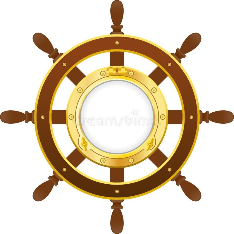 有舷窗的船轮子 皇族释放例证