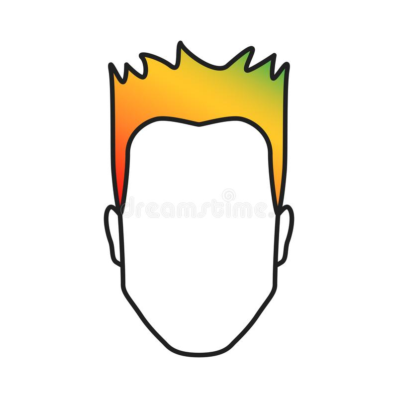 有色的头发的人,有五颜六色的发型的,多色被对待的头发庄稼概念,传染媒介例证男性头 皇族释放例证