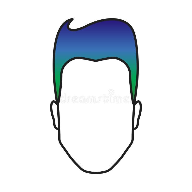 有色的头发的人,有五颜六色的发型的,多色被对待的头发庄稼概念,传染媒介例证男性头 向量例证