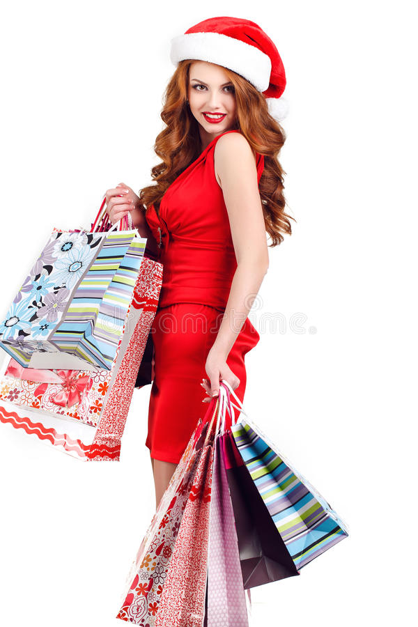 有色的袋子的美丽的雪未婚 免版税库存照片