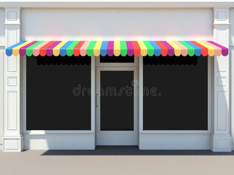 有色的遮篷的商店 皇族释放例证