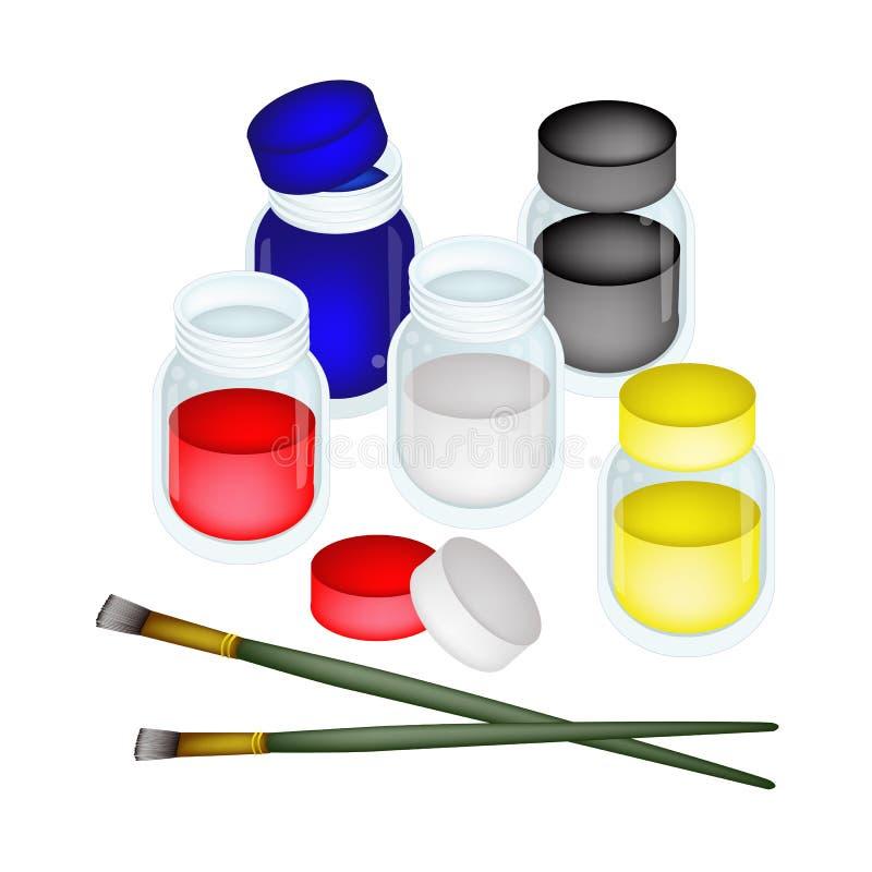 有艺术家刷子的五颜六色的颜色油漆瓶子 皇族释放例证
