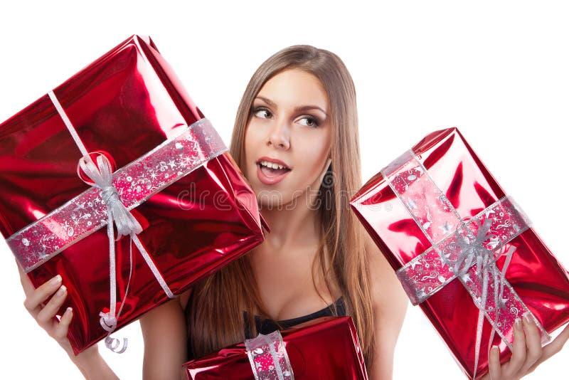有节日礼物的女孩 免版税图库摄影