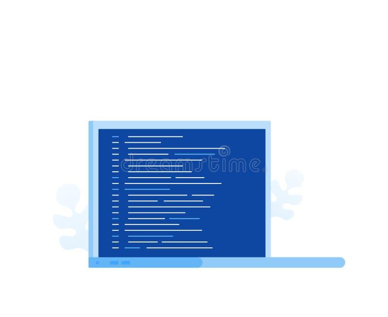 有节目代码的膝上型计算机屏幕网页的,横幅,介绍,社会媒介,文件 现代平的样式传染媒介例证 向量例证