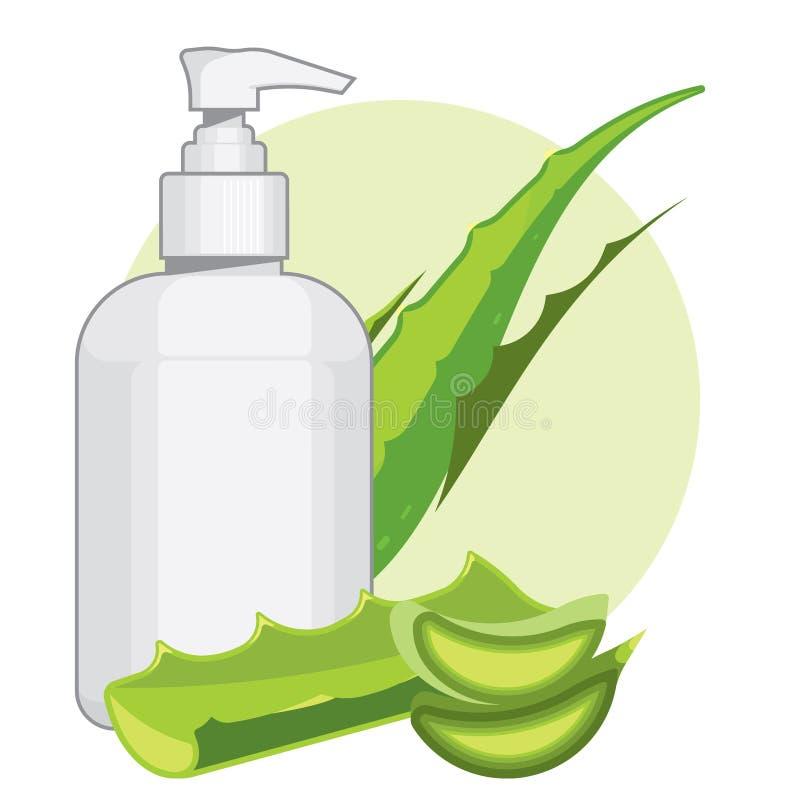 有芦荟维拉奶油或肥皂的瓶 皇族释放例证