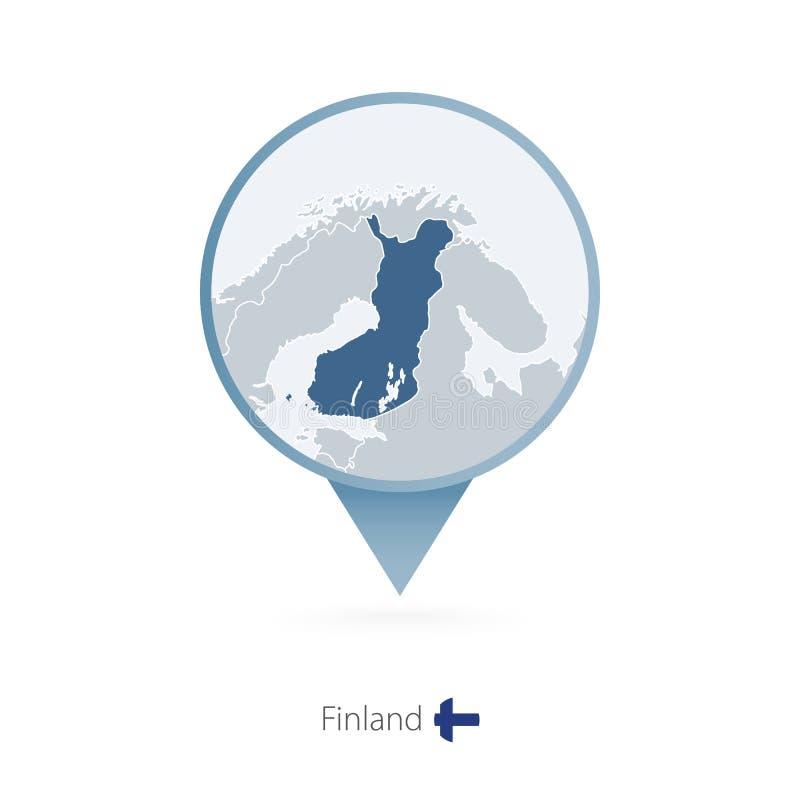 有芬兰和邻国详细的地图的地图别针  向量例证