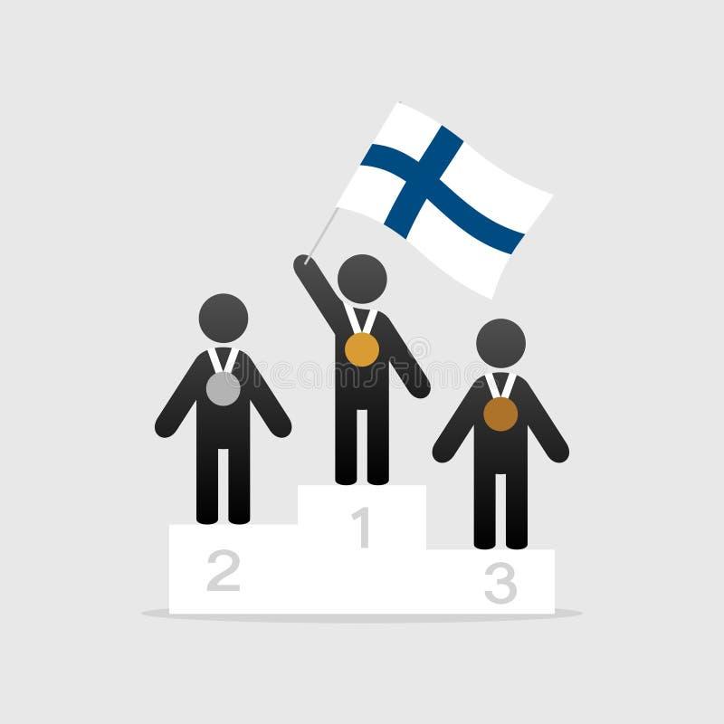 有芬兰旗子的冠军在优胜者指挥台 库存例证