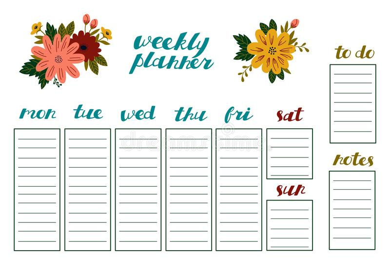 有花、文具组织者每日计划的和日程表的每周计划者 向量例证