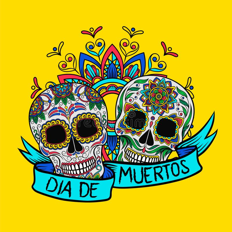 有花卉样式的, Dia de Muertos,海报的,贺卡传染媒介例证设计元素墨西哥糖头骨 库存例证
