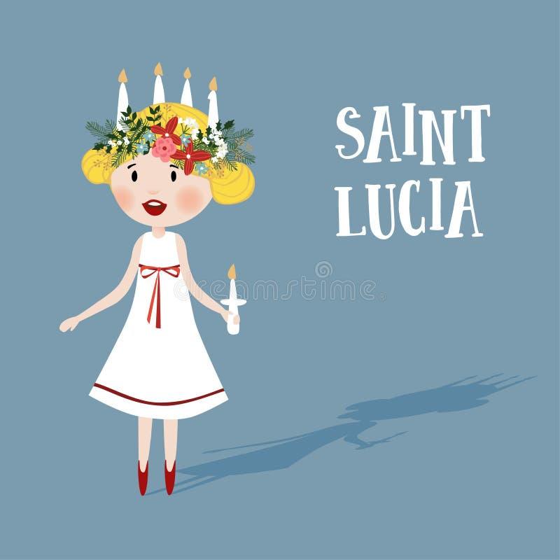 有花卉花圈的小白肤金发的女孩和蜡烛加冠,圣卢西亚 瑞典圣诞节传统,传染媒介例证 向量例证