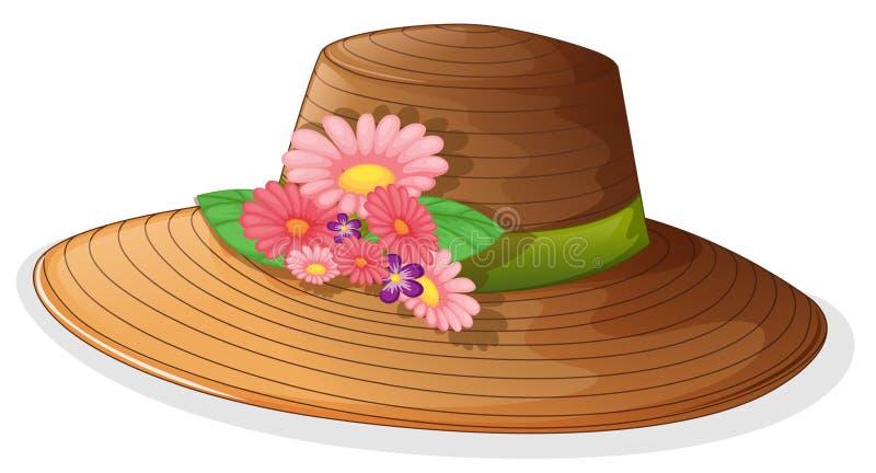 有花卉装饰的一个棕色帽子 库存例证