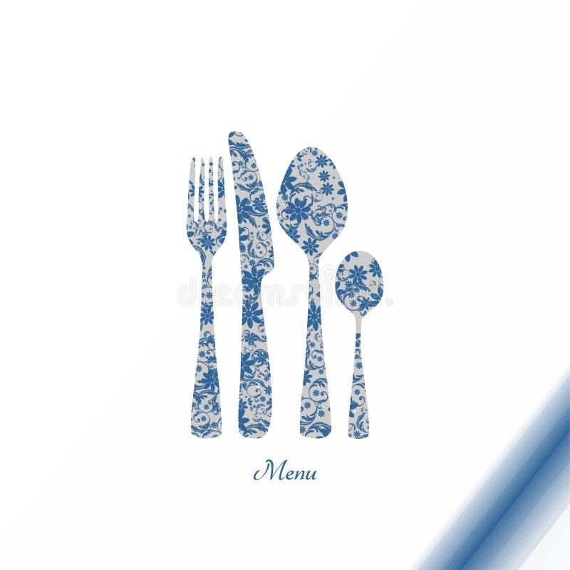 有花卉装饰的刀叉餐具 皇族释放例证